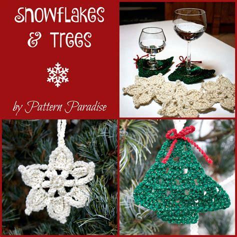 Free Crochet Pattern: Snowflakes & Trees Coasters
