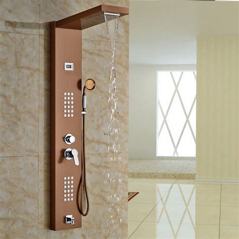 aspen rose gold massage shower panel system  shower head body massage jets funitic