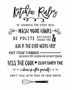 Kitchen rules printable lil39 luna for Kitchen colors with white cabinets with funny wall art quotes