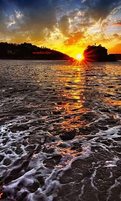 Sunset Nature Soleil Coucher Gifs Ocean Bonne