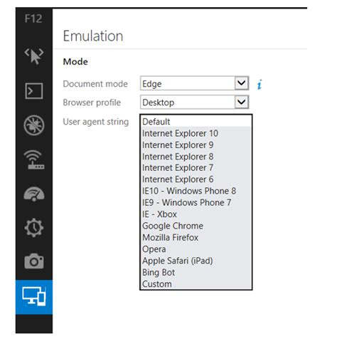 f12 agent user ie11 emulator string functionality