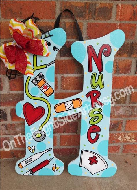 large door hanger nurse initial letters   onthebrightsideart crafts nurse crafts wood