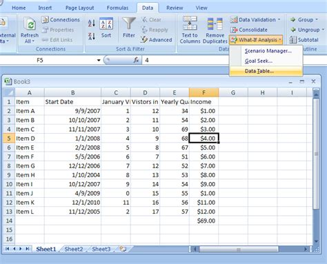 excel what if analysis data table image gallery excel datatable