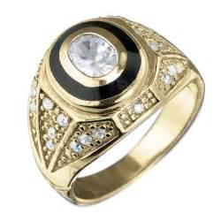 Men Gold Diamond College Ring