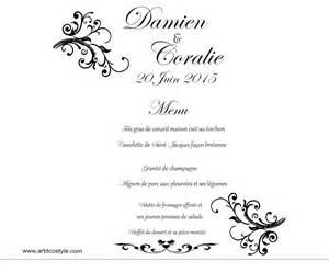 exemple de menu de mariage menu photophore artdcostyle décorations de mariage location housse de chaise mariage