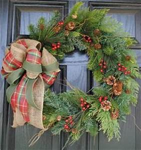 Evergreen & Holly Berries It s the Burlap & Plaid Bow