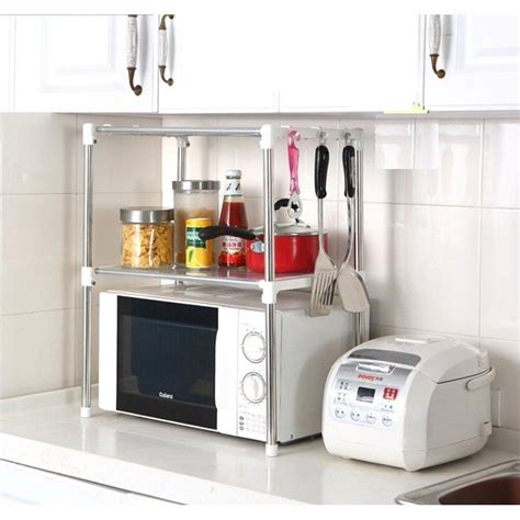 kitchen cabinet storage shelves multifunction microwave oven stainless steel shelf kitchen 5817