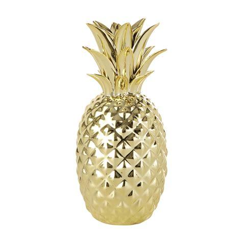 deco pour chambre ado garcon statuette ananas dorée h 23 cm maisons du monde