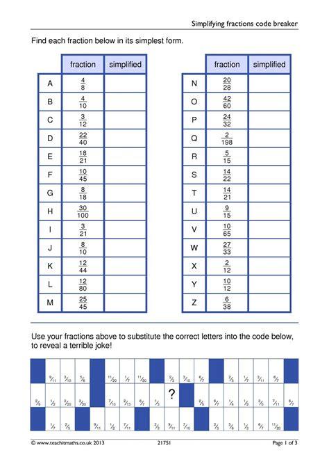 simplifying fractions code breaker math fractions simplifying fractions math fractions