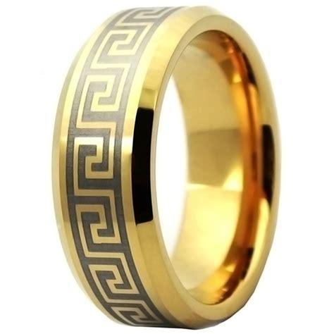 mens gold plated greek key tungsten personalised wedding