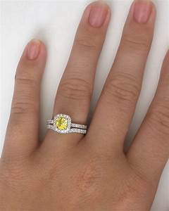 diamond halo engagement ring with cushion cut yellow With wedding band to go with cushion cut ring