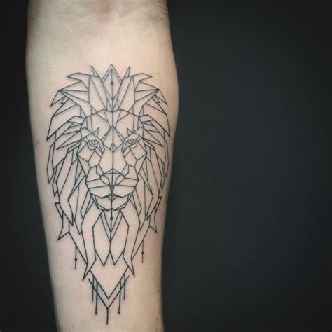 geometric lion tattoo   forearm  linework