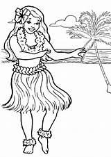 Coloring Hula Hawaiian Dancer Netart sketch template