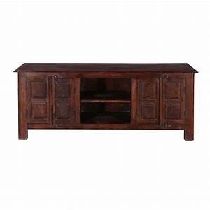 Rustic shaker mango reclaimed wood tv console media cabinet for Barnwood media cabinet