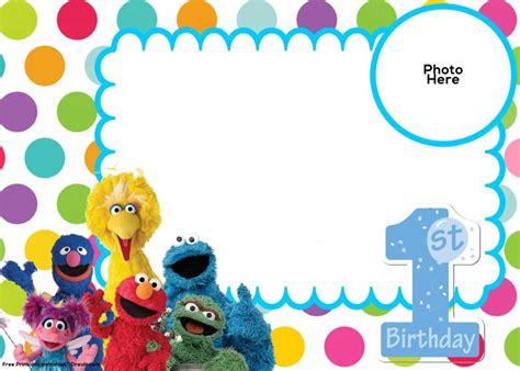 sesame street st birthday invitation template drevio