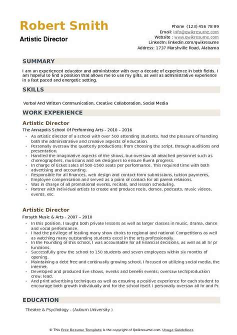 Artistic Resume by Artistic Director Resume Sles Qwikresume