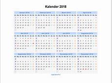 Kalender 2018 Jaarkalender en Maandkalender 2018 met
