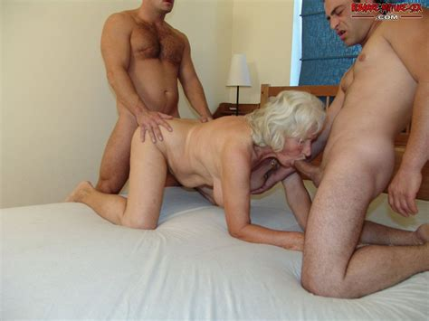 kinky grandma doing two dudes at the same time granny nu