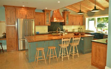rustic pine antique teal grey copper kitchen