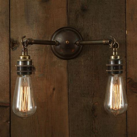 double wall lights uk double arm industrial wall light