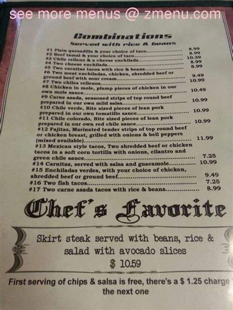 menu  rancho grande restaurant corning
