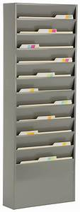 wall hanging file organizer gray powder coated finish With hanging document organizer