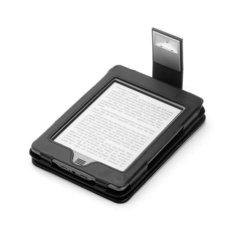 kindle touch cover with light black genuine leather case for kindle touch with slim led