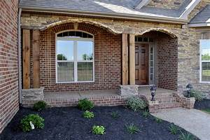 Cedar Post And Stone Front Porch Traditional Porch