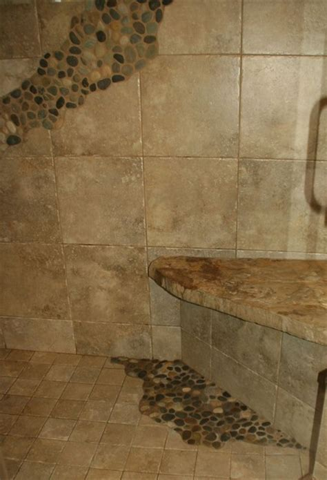 stone shower seat mediterranean bathroom cleveland