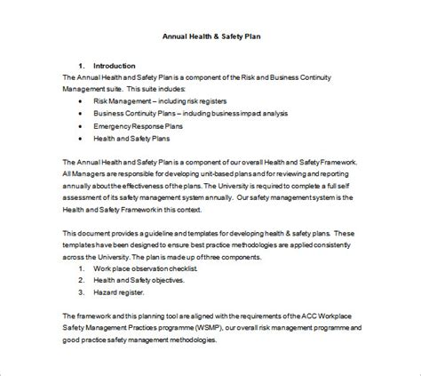 Annual Health And Safety Report Template by Health And Safety Plan Templates 10 Free Word Pdf
