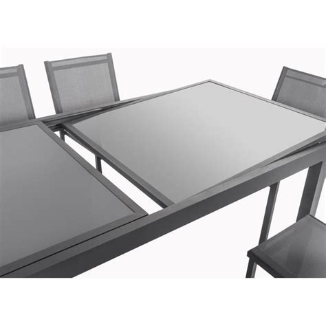 table et chaise de salon ensemble table extensible 200 300 cm 8 chaises gris aluminium et plateau verre 318424