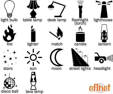 light sources picture vocabulary worksheets eflnet