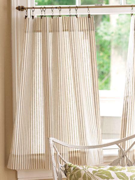 ticking stripe rod pocket tiers   bath curtains