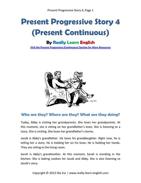 esl story in the present progressive tense