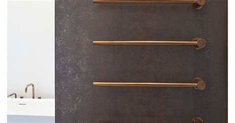 vola  heated towel rails  brushed copper bathrooms