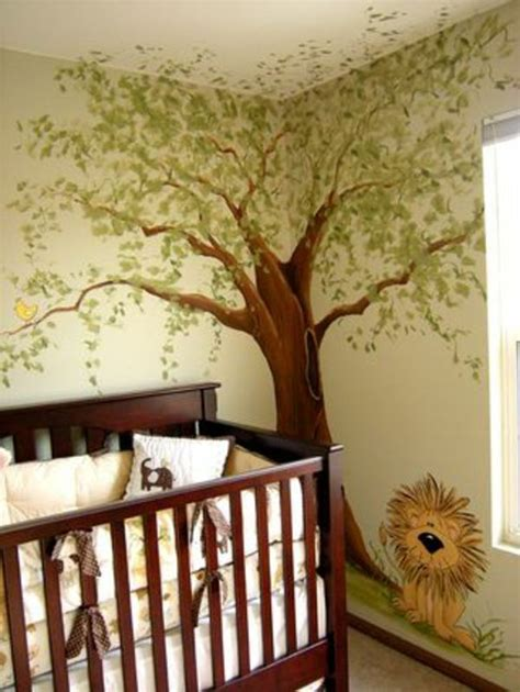 Wandgestaltung Kinderzimmer Bett by Interessante Dschungel Gestaltung Vom Babyzimmer
