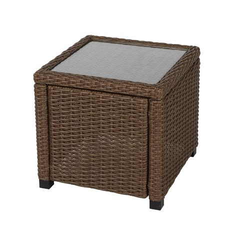 hton bay maldives brown wicker outdoor accent table 710