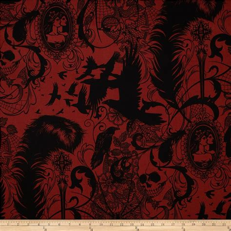 dark skull spider red discount designer fabric