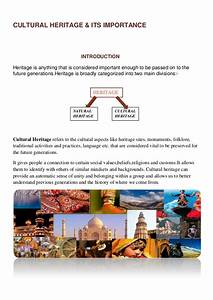 Cultural heritage & its importance