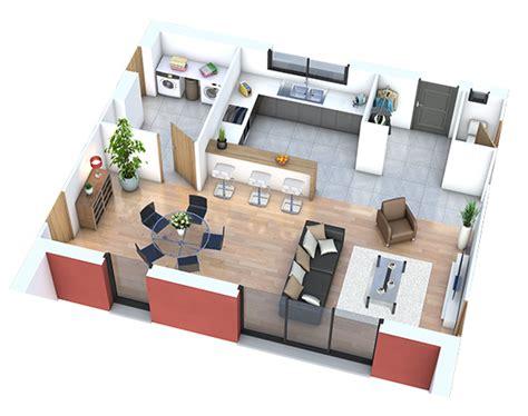plan cuisine ouverte 9m2 maison neuve bien aménager séjour