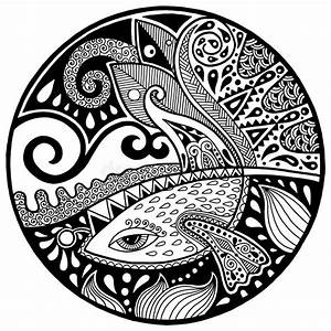 Black White Abstract Zendala With Fish And Waves Stock ...