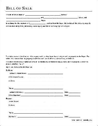 Boat Bill Of Sale With Witness by Free Notarized General Bill Of Sale Husband And To