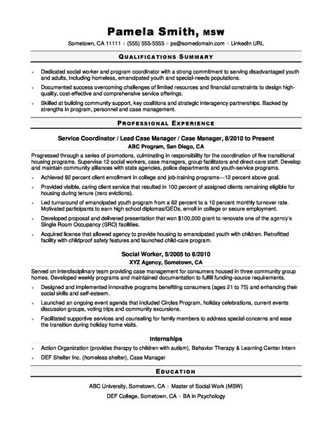 social worker resume sle