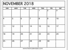 15 best november 2018 calendar printable templates