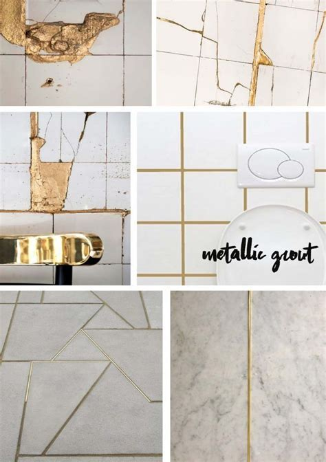 Image result for white tile with gold grout   Project