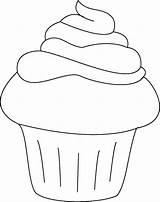 Cupcake Coloring Cupcakes Pages Birthday Drawing Cake Muffin Pattern Paper sketch template