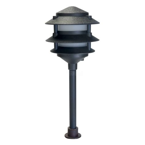 landscape lighting low voltage frosted three tier pagoda light