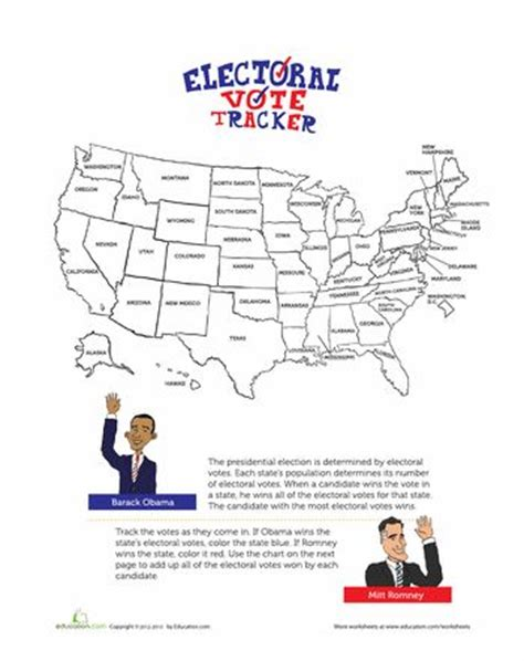 Electoral Map 2012  Electoral Map 2012, Worksheets And Maps