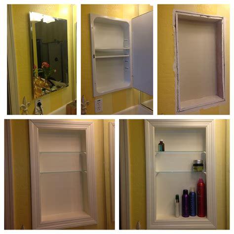 converted metal medicine cabinet  open shelves
