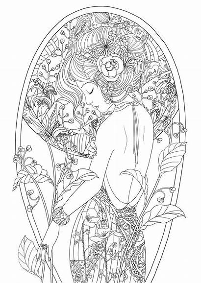 Coloring Pages Adult Adults Woman Beauty Printable